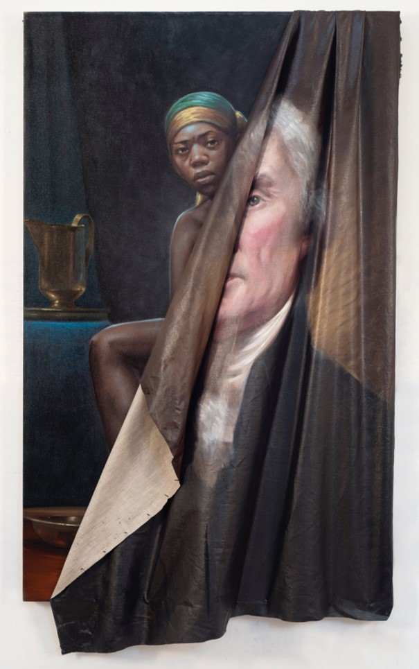 Hanging half loose from its stretcher, a portrait of Thomas Jefferson reveals an image of a black woman behind it, in artwork by Titus Kaphar